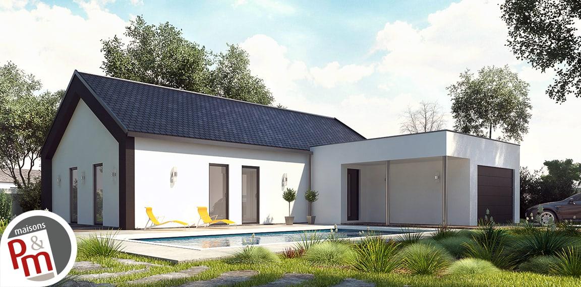 Atrium maison contemporaine avec plan en l for Maison contemporaine loiret