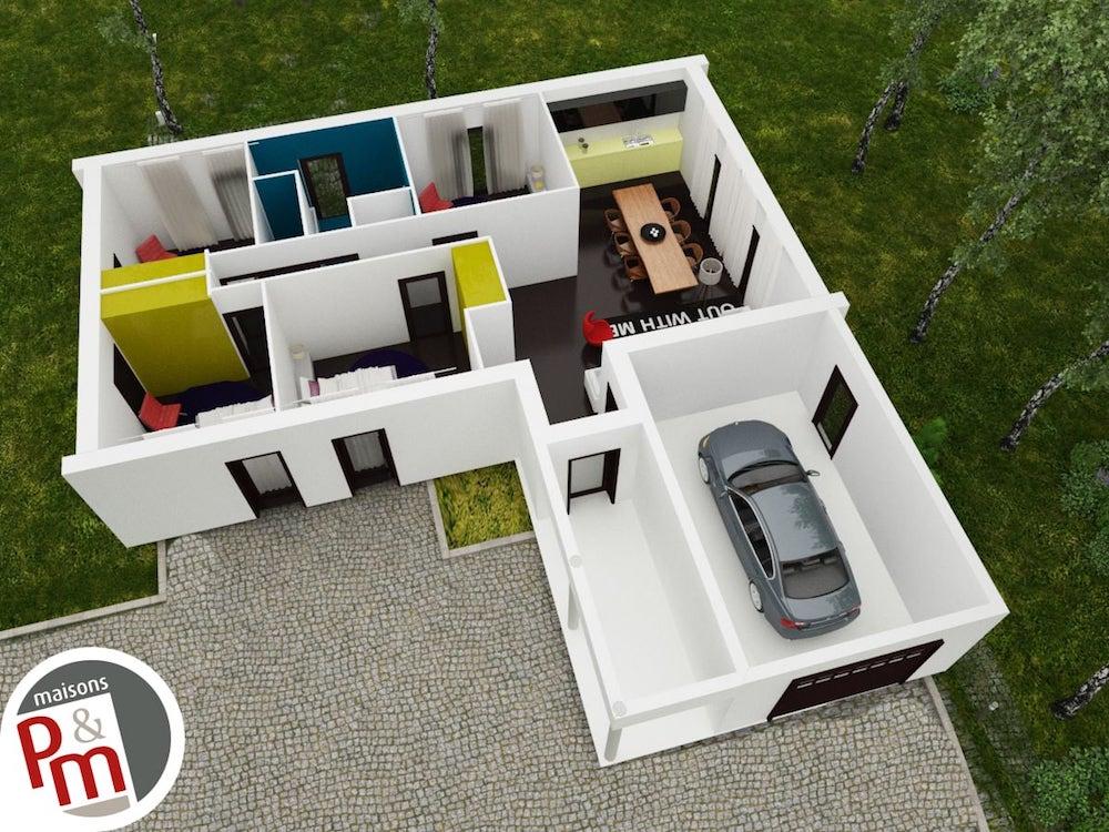 Atrium - maison contemporaine avec plan en L